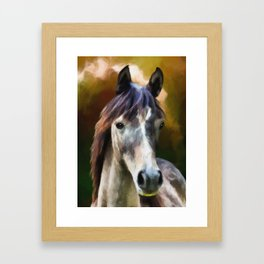 Digital horse portrait painting Framed Art Print
