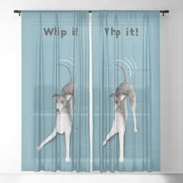 Whip it! (Blue-Gray) Sheer Curtain