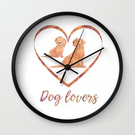 Abstract Amber Watercolor painting Dog Lovers Typography Wall Clock