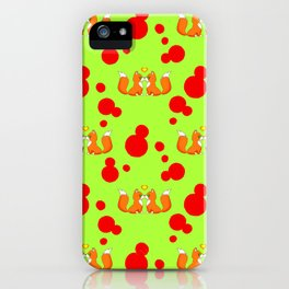 Cute lovely little foxes in love and bold red retro dots seamless pattern design. Hello November. iPhone Case