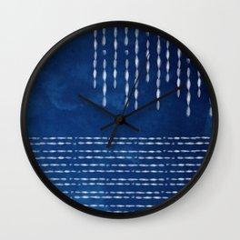 Indigo Shibori dot line Wall Clock