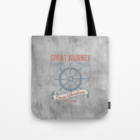 Maritime Design- Great Journey Ocean Adventure on grey abstract background #Society6 Tote Bag