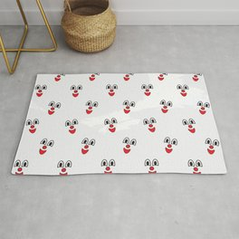 Funny clown face pattern with Red nose Rug