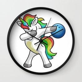 Dabbing Unicorn Bowling Funny Dancing Dab Gift Wall Clock