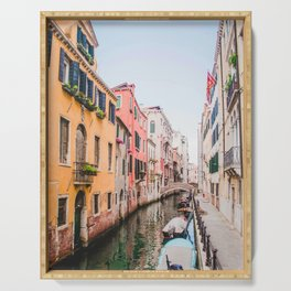 Colorful Pink Yellow Blue Venice Canals | Europe Italy City Travel Photography Serving Tray