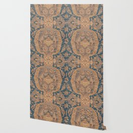 Persian Motif I // 17th Century Ornate Rose Gold Silver Royal Blue Yellow Flowery Accent Rug Pattern Wallpaper