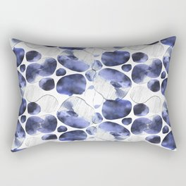 Rainy watercolor and ink picture became an abstract pattern in deep blue and black colors. Rectangular Pillow