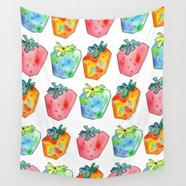 Difference Is Not Wrong watercolor painting strawberry illustration fruits nursery kitchen Wall Tapestry