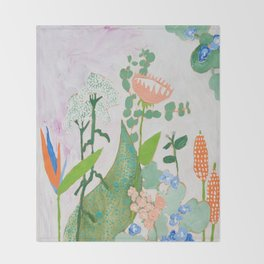 Multi Floral Painting on Pink and White Background Throw Blanket