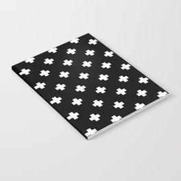 White Swiss Cross Pattern on black background Notebook