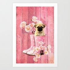Pug Life Pink Art Print