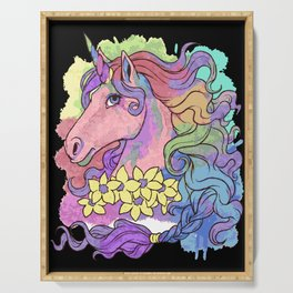 Unicorn Watercolor | Fantasy Horse Serving Tray