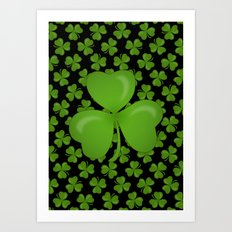 Green Irish Shamrocks Pattern Art Print