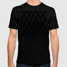 Mustard & black triangle mid-century pattern Mens Fitted Tee MEDIUM Black