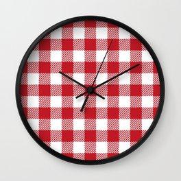 Buffalo Plaid - Red & White Wall Clock