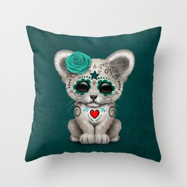 Teal Blue Day of the Dead Sugar Skull White Lion Cub Throw Pillow