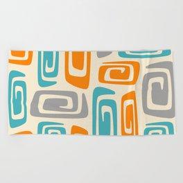 Mid Century Modern Cosmic Abstract 740 Orange Blue and Gray Beach Towel