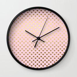 Princesslike- pink and gold elegant heart ornament pattern Wall Clock