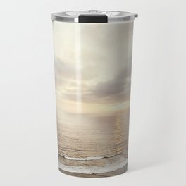 Neutral Sunset Pacific Ocean Photography, Brown Grey Seascape, California Coast Sea Landscape Travel Mug