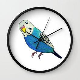 Blue Budgie Wall Clock