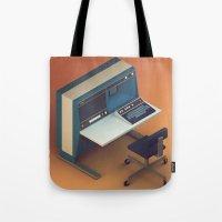 computer Tote Bags featuring Vintage Computer by Michiel van den Berg