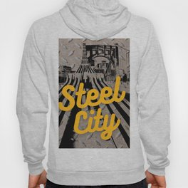 Pittsburgh Steel City Skyline Retro Print Hoody