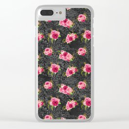 Pink & Black Floral Pattern One Clear iPhone Case