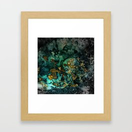 Gold Indigo Malachite Marble Framed Art Print