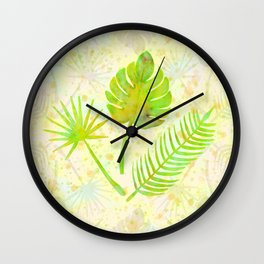 Tropical Leaf Watercolor Painting, Green Palm Tree Leaves Wall Clock