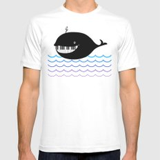 whale  (water proof piano!) Mens Fitted Tee MEDIUM White