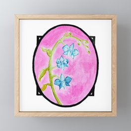 Blue Orchids Watercolor Painting — Blue Orchid Bouquet Painting Framed Mini Art Print