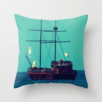 pirates Throw Pillows featuring Pirates by Endless Summer