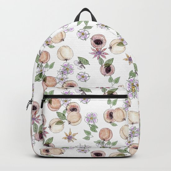 Watercolor pattern with apricots and flowers Backpack