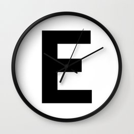 Letter E (Black & White) Wall Clock