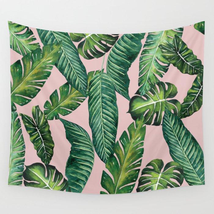 Jungle Leaves, Banana, Monstera II Pink #society6 Wall Tapestry