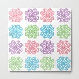 Multicolor Roses Flower Doodle Pattern Metal Print