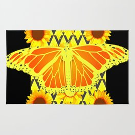 SUNFLOWERS & MONARCH BUTTERFLY BLACK GRAPHIC Rug