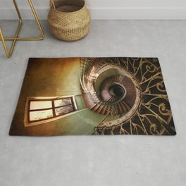 Spiral staircaise with a window Rug