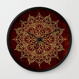 Deep Red & Gold Mandala Wall Clock