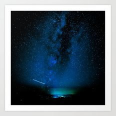 Stars and Space Night Sky - Blue Starry Milky Way in Arizona Art Print