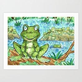 Chillin' Frogs Art Print