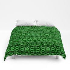 Dividers 07 in Green over Black Comforters