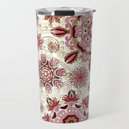 Floral pattern with stylized snowflakes. Christmas winter snow theme pattern. Travel Mug