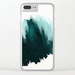 Our trip to the Oregon coast - an aqua blue abstract painting by JulesTillman Clear iPhone Case