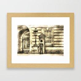 Buckingham Palace Queens Guard Vintage Framed Art Print