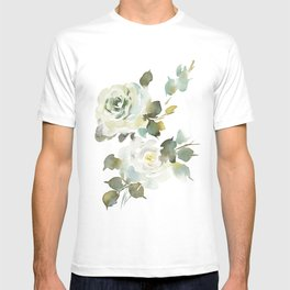 Green Watercolor Roses T-shirt