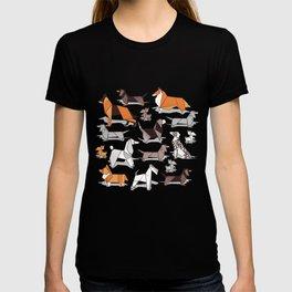 Origami doggie friends // grey linen texture background T-shirt