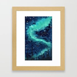 Northern Lights galaxy watercolor landscape painting Framed Art Print
