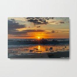 Sunset North Sea Waves Reflections Denmark Bjerregard Beach 8 Metal Print