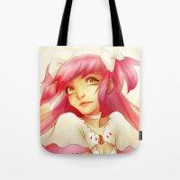 madoka Tote Bags featuring Eternal Madoka by TheEmpa